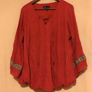 Tops - Rust colored western shirt